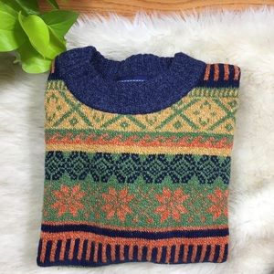 Blue J Snowflake Print Sweater Blue and Green